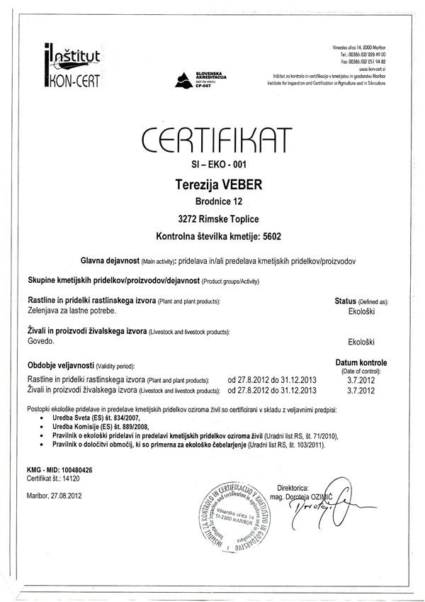 Certifikat Kmetije